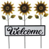 Welcome Sunflower Garden Stake