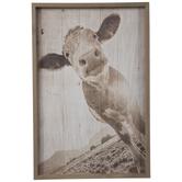 Sepia Cow Wood Wall Decor