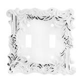 Distressed White Flourishing Metal Double Switch Plate