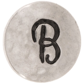 Hammered Alphabet Snap Charm - B