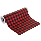 Red & Black Buffalo Check Faux Leather Ribbon - 8""