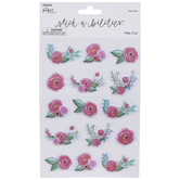 Pink Flowers Puffy Stickers