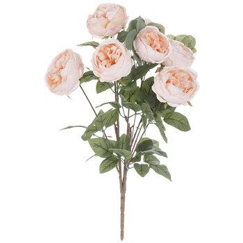 Peach Pink Cabbage Rose & Silver Dollar Eucalyptus Bush