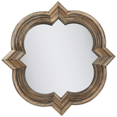 Natural Wood Quatrefoil Wall Mirror