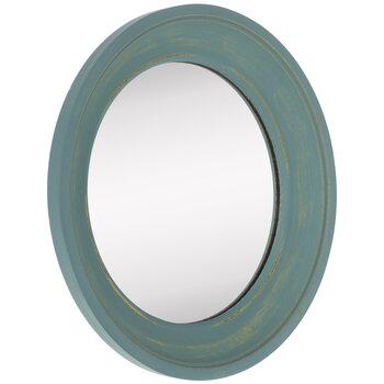 Round Wood Wall Mirror