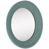 Blue Round Wood Wall Mirror - Large