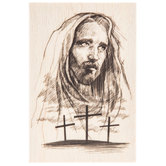 Jesus with Crosses Rubber Stamp