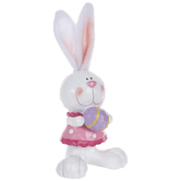 Carved Bunny With Fabric Ears Holding Egg