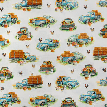 Blue Farm Truck Cotton Calico Fabric