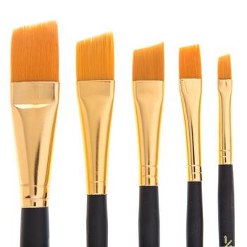 Gold Taklon Angular Shader Paint Brushes - 5 Piece Set
