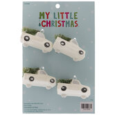White Mini Truck Hauling Tree Ornaments