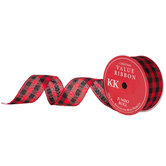 Red & Black Buffalo Check Wired Edge Ribbon - 2 1/2""