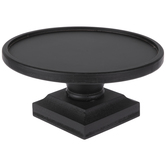 Black Round Pedestal Wood Candle Holder