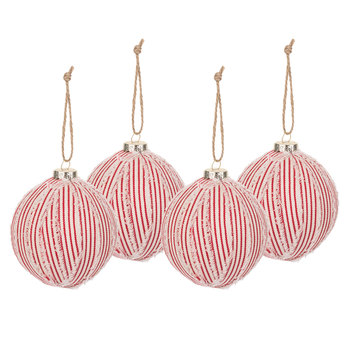 Red & White Ticking Striped Ball Ornaments - Large
