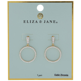 Pearl & Cubic Zirconia Dangle Hoop Earrings