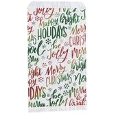 Foil Christmas Phrases Treat Sacks