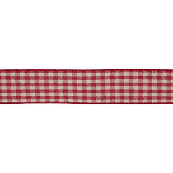 """Red & Cream Gingham Wired Edge Ribbon - 1 1/2"""""""