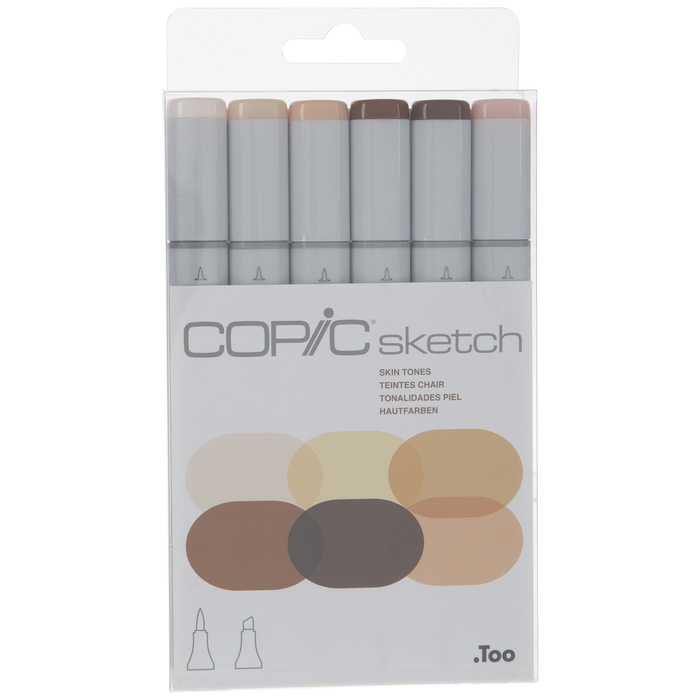 Copic Ciao Brights Tones Kit Skin Colors 6 piece copic marker set