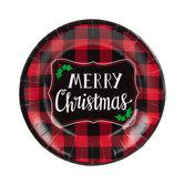 Merry Christmas Buffalo Check Paper Plates