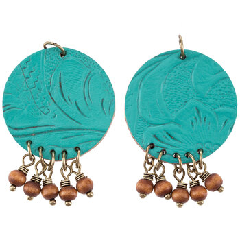 Turquoise Floral Imitation Leather Round Pendants With Beads