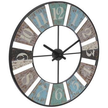 Distressed Wood Cutout Wall Clock