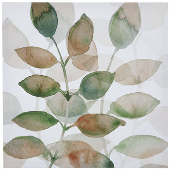 Watercolor Leaves Canvas Wall Decor