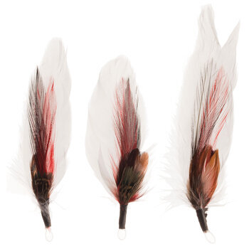 """Red, White & Black Natural Feather Picks With Loops - 3"""" - 4"""""""