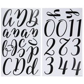 Black Blended Script Alphabet Stickers