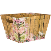Floral Wood Plank Handle Box