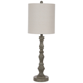 Distressed Wood Look Finial Lamp