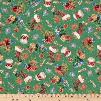 Retro Christmas Icons Cotton Apparel Fabric