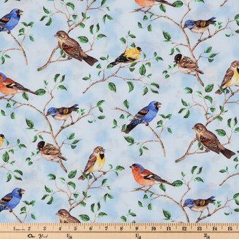 Bird Scenic Cotton Calico Fabric