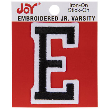Black Junior Varsity Letter Iron-On Applique E - 2""