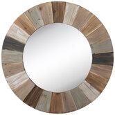 Gray & Whitewash Round Wood Wall Mirror