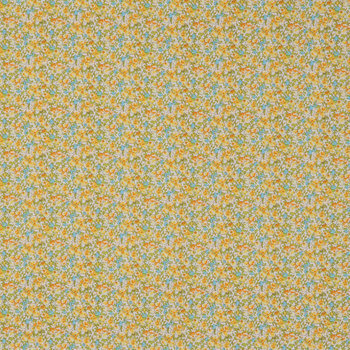 Blue & Yellow Floral Cotton Calico Fabric