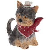 Gray Yorkie Wearing Red Bandana Teapot
