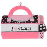 I Love Dance Bag Personalized Ornament