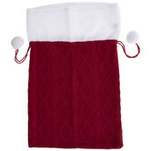 Red Knit Drawstring Gift Bag