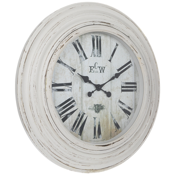 Distressed White Wall Clock