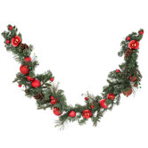 Pine Garland With Pinecones & Red Ornaments