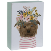 Dog With Flower Crown Wood Decor