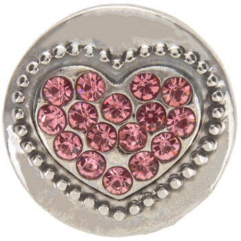 Snap Charm With Pink Heart
