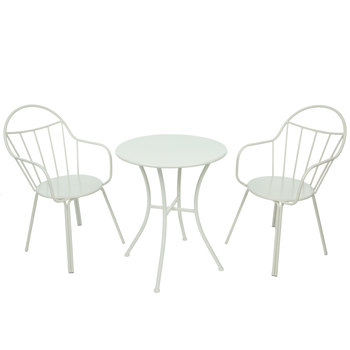 White Bistro Metal Table & Chairs