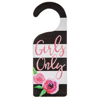 Girls Only Striped Wood Door Hanger
