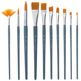 Gold Taklon Acrylic & Watercolor Paint Brushes - 10 Piece Set