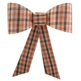 Brown & Orange Plaid Bow