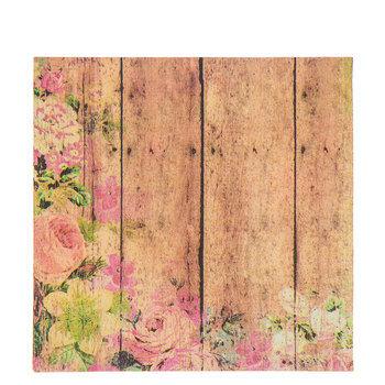Wood Plank & Floral Napkins
