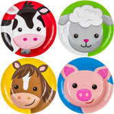 Barnyard Birthday Animal Face Paper Plates - Small