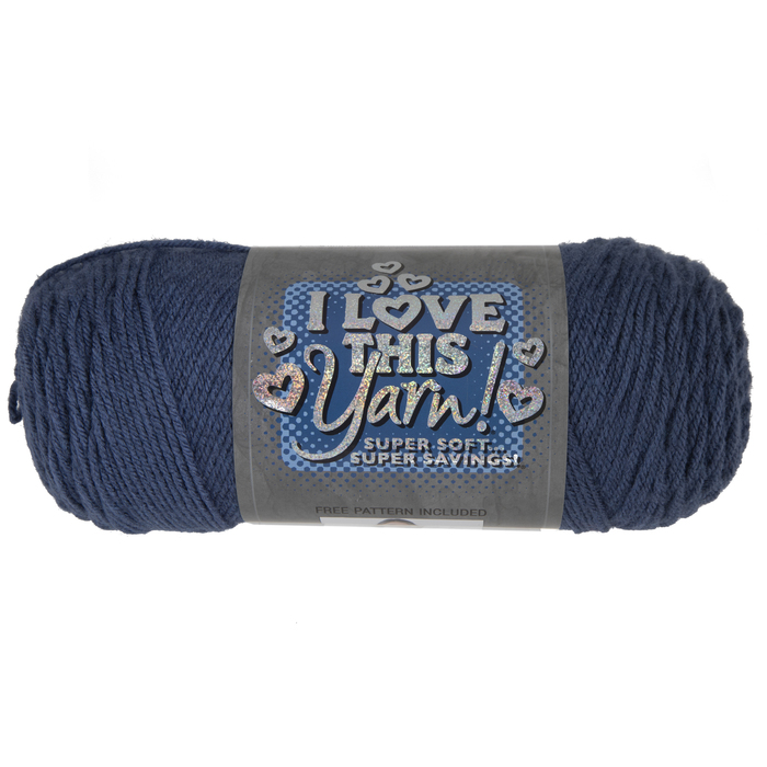 I LOVE THIS YARN 5 oz New 4 Ply Worsted Wt Hobby Lobby Aqua Black 252 Yds Blue