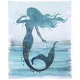 Blue Glitter Mermaid Canvas Wall Decor